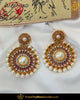 Gold Finished Jerkan Stone Purple Pearl Earrings | Punjabi Traditional Jewellery Exclusive
