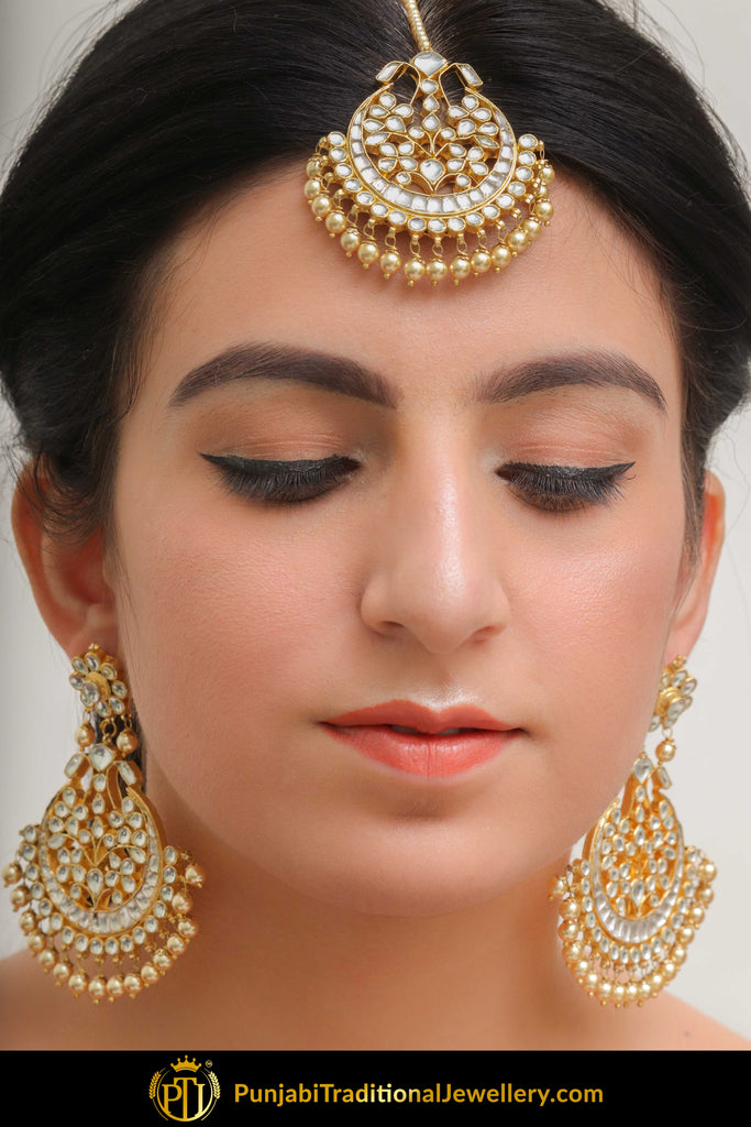 Amirah Golden Kundan Pearl Earring Tikka Set | Punjabi Traditional Jewellery Exclusive