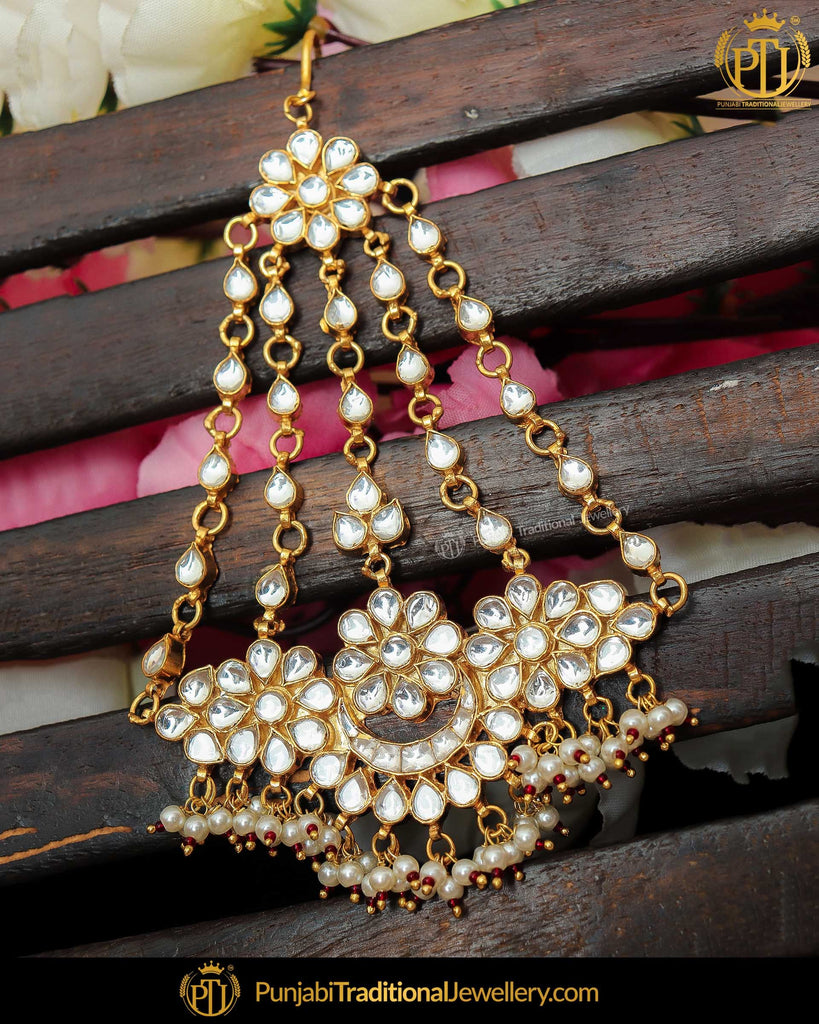 Gold Finished Kundan Pearl Passa | Punjabi Traditional Jewellery Exclusive