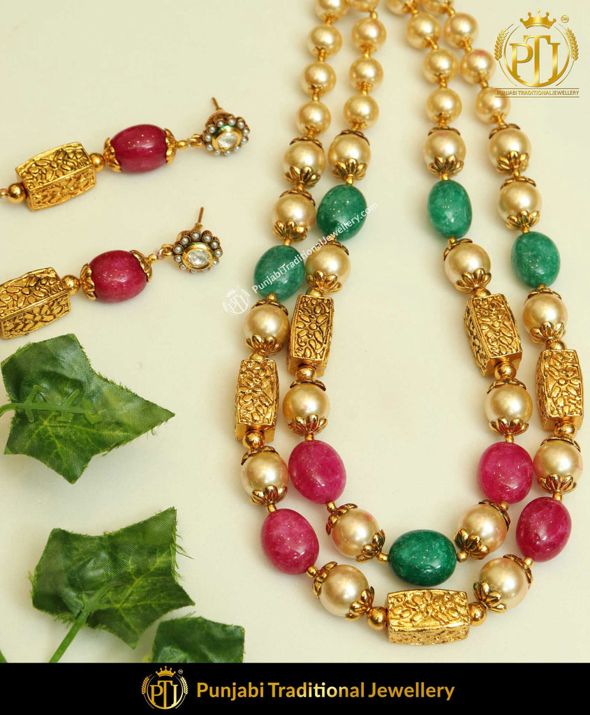 Red & Green Jodha Mala Necklace Set | Punjabi Traditional Jewellery Exclusive