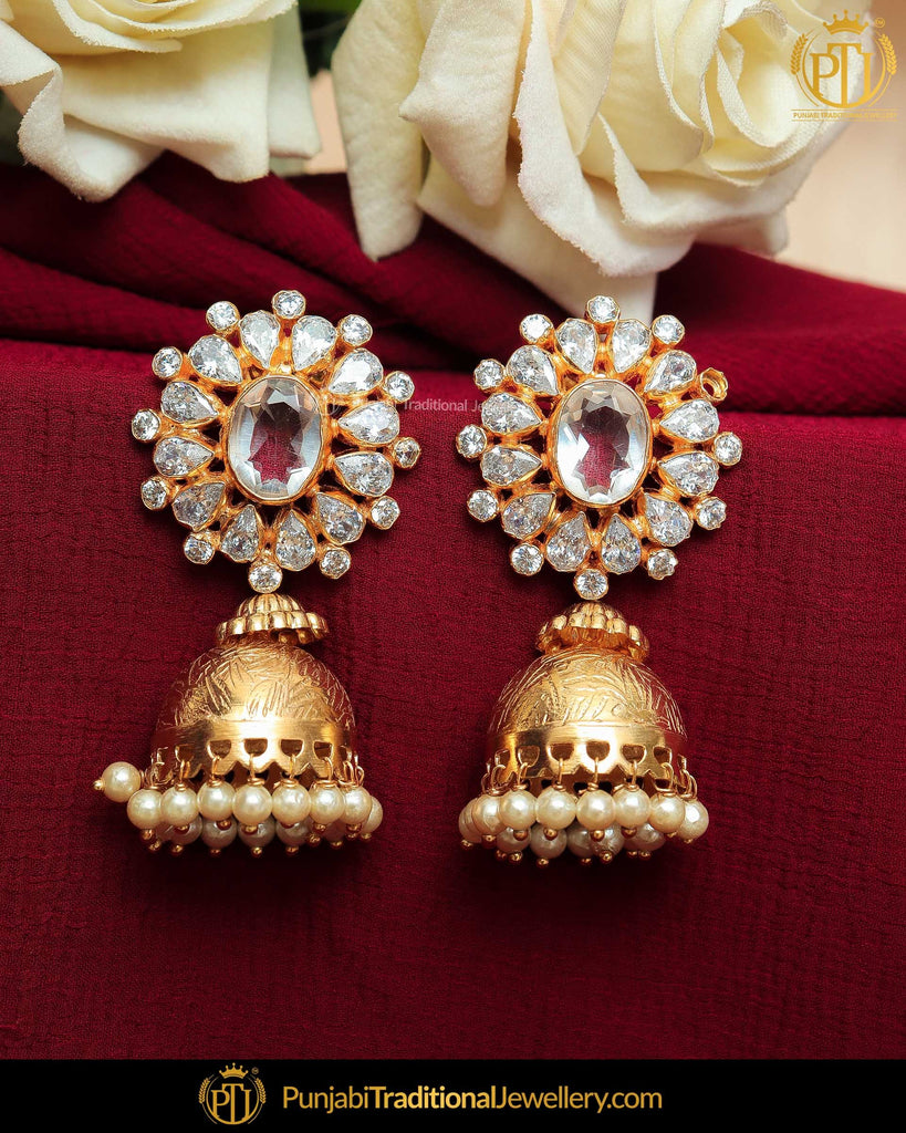 Gold Finished Crystal Stone Jhumki Pearl Earrings | Punjabi Traditional Jewellery Exclusive