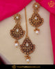 Gold Finished Polki Stone Pearl Earring Tikka Set | Punjabi Traditional Jewellery Exclusive