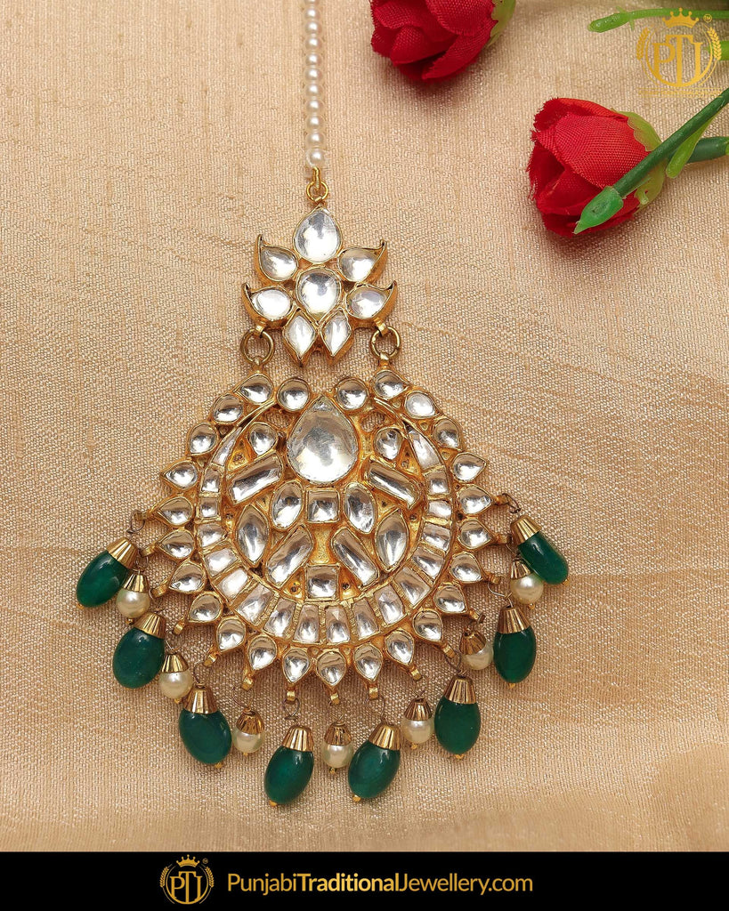 Gold Finished Emerald Kundan Pearl Tikka | Punjabi Traditional Jewellery Exclusive