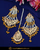 Gold Finished Yellow Jadau Pearl Earring Tikka Set | Punjabi Traditional Jewellery Exclusive