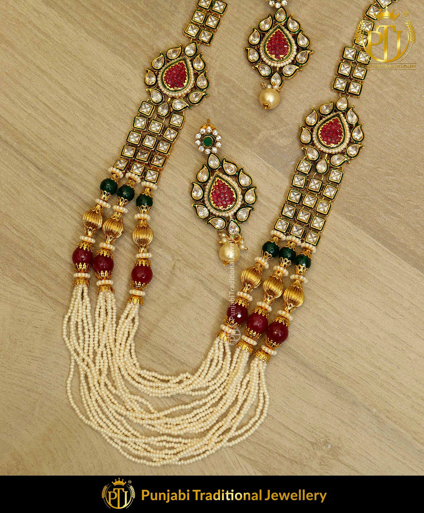 Green & Red Jodha Necklace Set | Punjabi Traditional Jewellery Exclusive