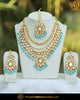 Gold Finished Firozi Pearl Kundan Bridal Choker Necklace Set | Punjabi Traditional Jewellery Exclusive