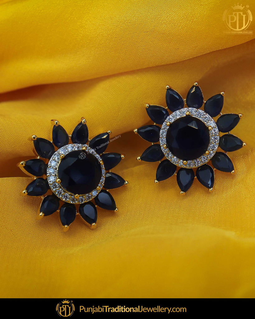 Gold Finished Black American Diamond Stud Earrings | Punjabi Traditional Jewellery Exclusive