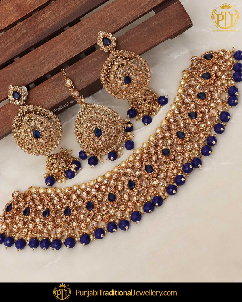 Gold Finished Blue Champagne Stone Pearl Choker Necklace Set  | Punjabi Traditional Jewellery Exclusive