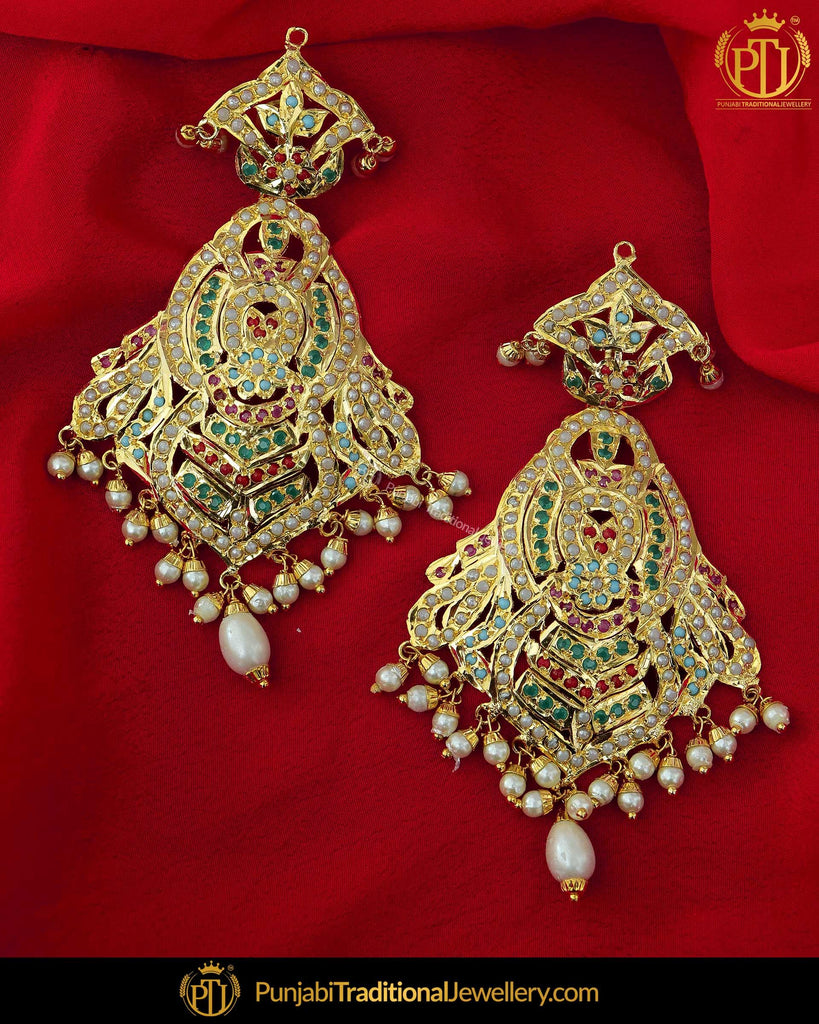 Gold Finished Navratan Jadau Earrings  | Punjabi Traditional Jewellery Exclusive