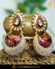 Hand Painted Rubby Pearl Earrings | Punjabi Traditional Jewellery Exclusive