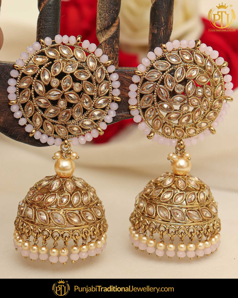 Gold Finished Pink Champagne Stone Pearl Jhumki Earrings & Tikka | Punjabi Traditional Jewellery Exclusive