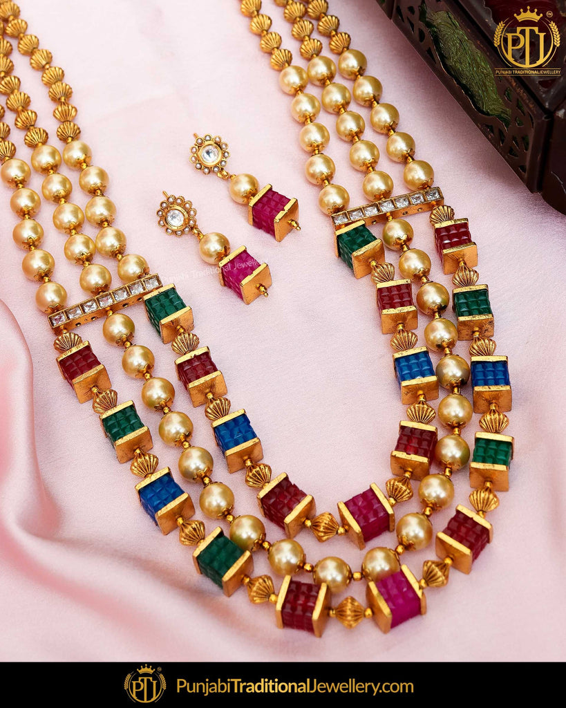 Antique Gold Finished Rubby Emerald Pearl Johda Long Set  | Punjabi Traditional Jewellery Exclusive