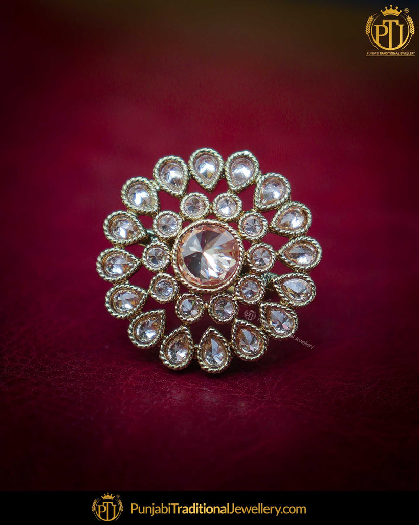Silver Finished Polki Stone Ring | Punjabi Traditional Jewellery Exclusive