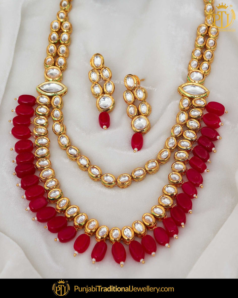Gold Finished Red Pearl Kundan Necklace Set | Punjabi Traditional Jewellery Exclusive
