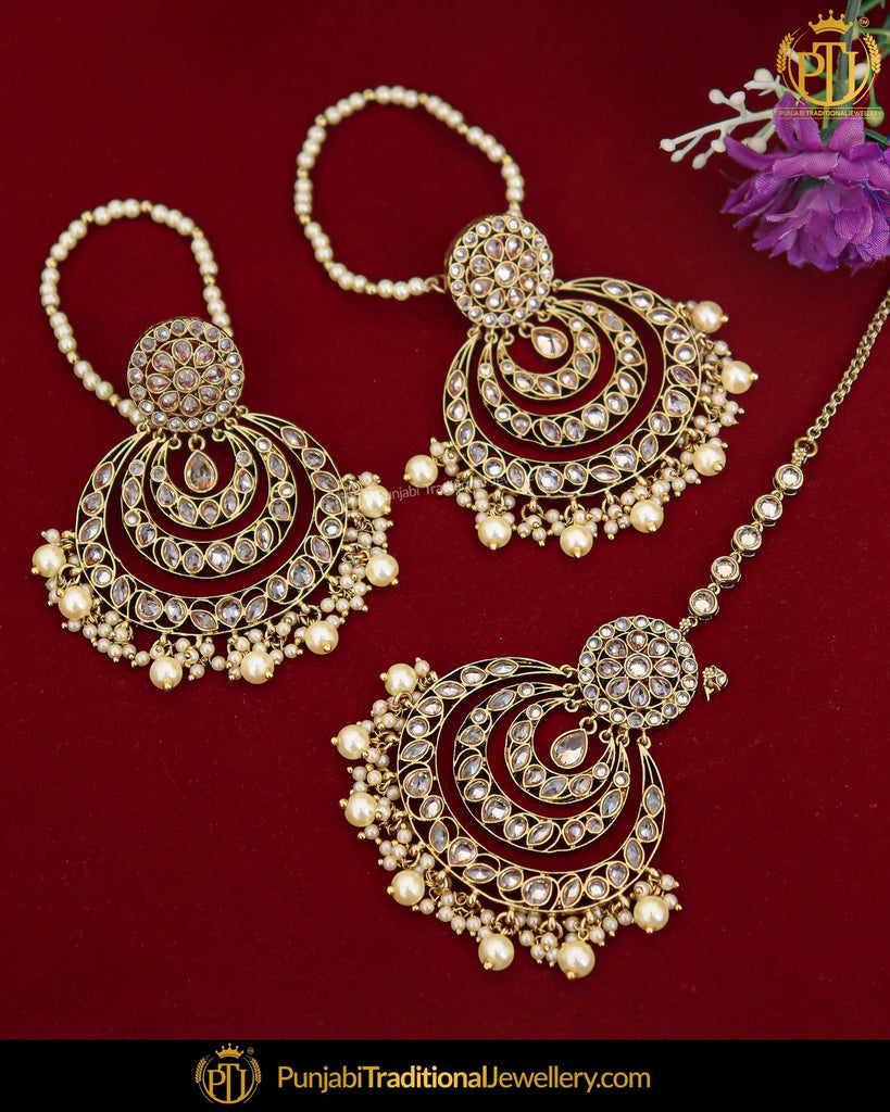 Antique Gold Finished Pearl Champagne Stone Earring Tikka Set | Punjabi Traditional Jewellery Exclusive