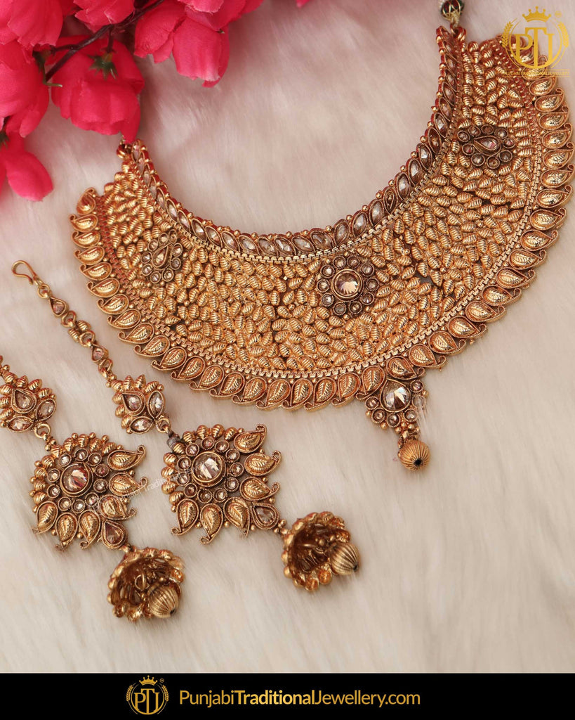 Antique Gold Finished Champagne Stone Pearl Bridal Choker Necklace Set Punjabi Traditional Jewellery