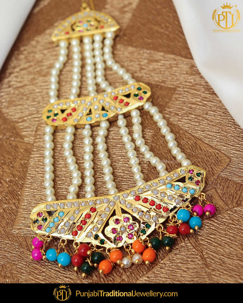 Gold Finished Navratan Jadau Pearl Passa | Punjabi Traditional Jewellery Exclusive
