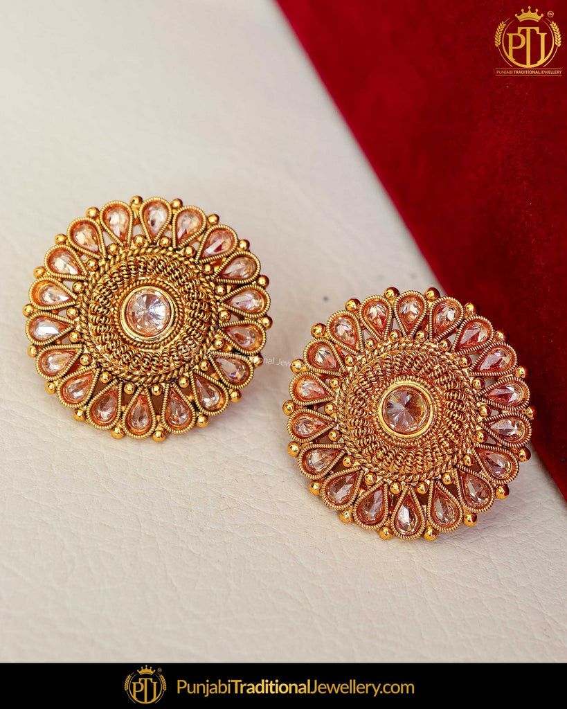 Gold Finished Polki Stone Pearl Stud Earrings | Punjabi Traditional Jewellery Exclusive