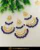 Gold Finished Blue Kundan Pearl Earrings With Passa | Punjabi Traditional Jewellery Exclusive