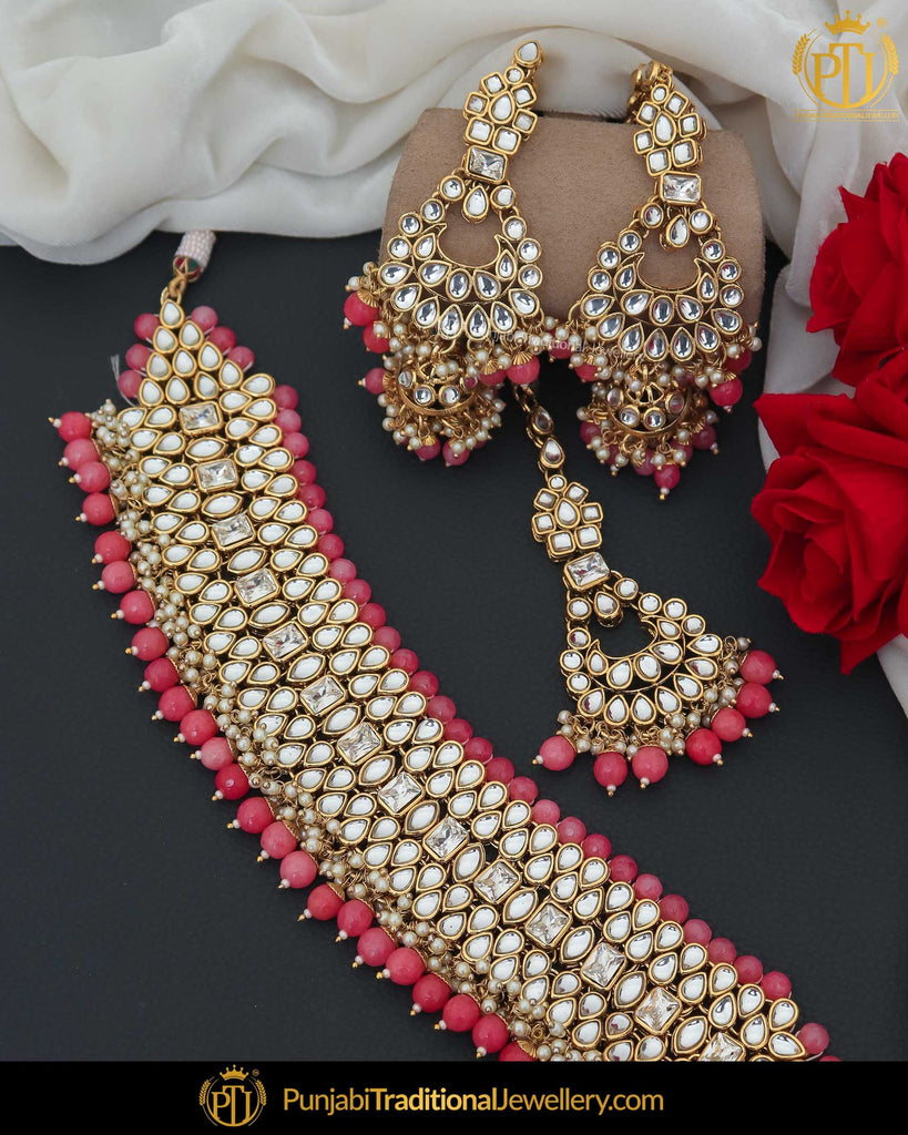 Gold Finished Kundan Pink Pearl Choker Necklace Set | Punjabi Traditional Jewellery Exclusive