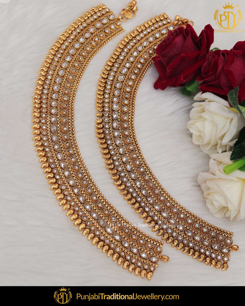 Gold Finished Pearl Champagne Stone Payal | Punjabi Traditional Jewellery Exclusive