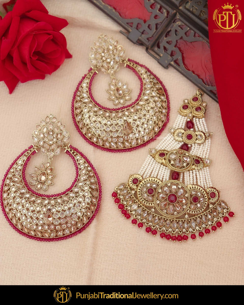 Gold Finished Champagne Stone Rubby Pearl Earrings & Passa | Punjabi Traditional Jewellery Exclusive