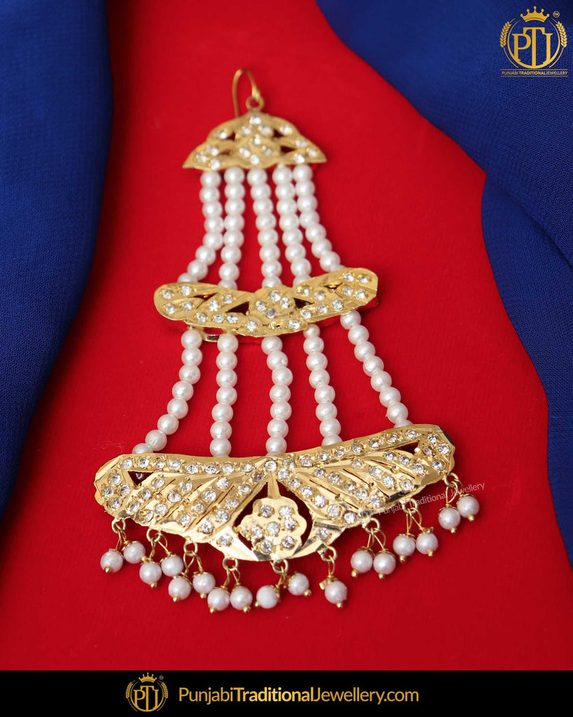 Gold Finished Jerkan Jadau Pearl Passa | Punjabi Traditional Jewellery Exclusive