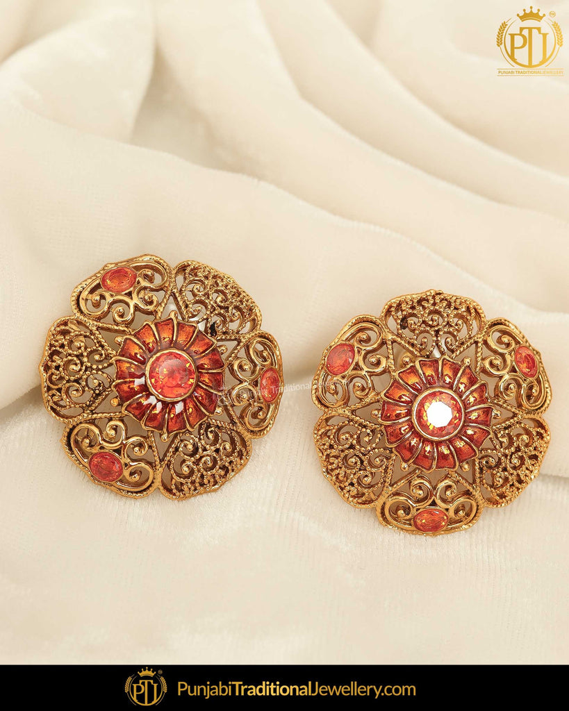 Antique Gold Finished Oragne Stud Earrings | Punjabi Traditional Jewellery Exclusive