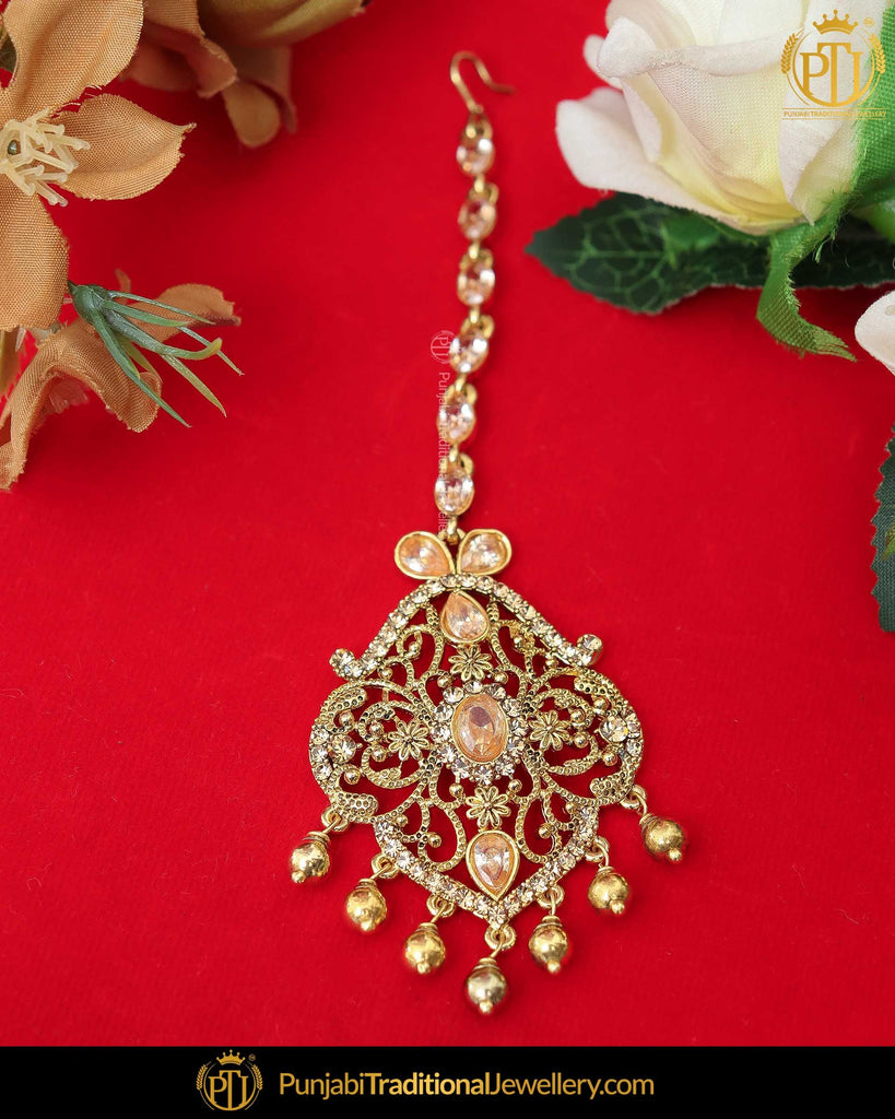 Gold Finished Lct Stone Tikka | Punjabi Traditional Jewellery Exclusive