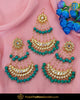 Gold Finished Firozi Kundan Pearl Earrings With Passa | Punjabi Traditional Jewellery Exclusive