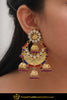 Abeera Red Blue Gold Plated Kundan Earrings | Punjabi Traditional Jewellery Exclusive