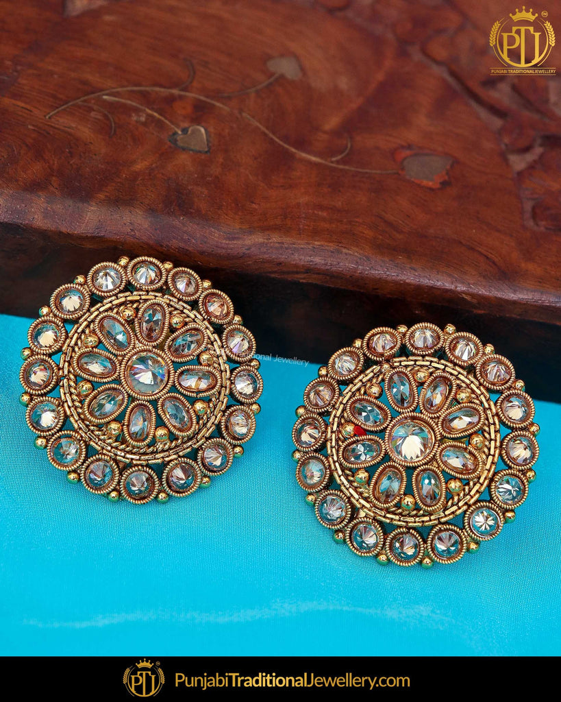 Antique Gold Finished Chamapgne Stone Stud Earrings | Punjabi Traditional Jewellery Exclusive