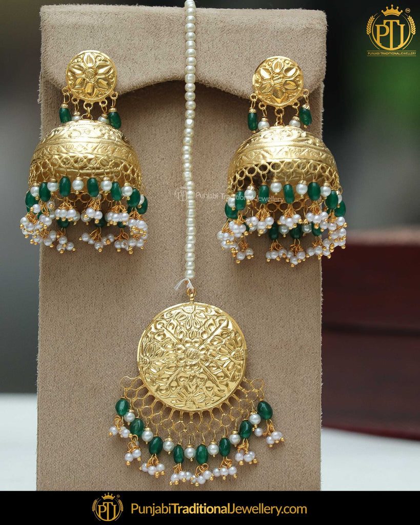 Gold Finished Eamrald Jhumki Pearl Earring Tikka Set | Punjabi Traditional Jewellery Exclusive