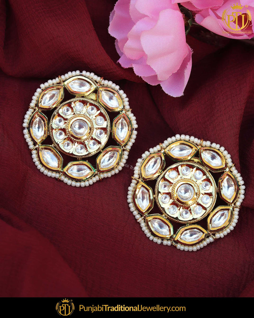 Gold Finished Kundan Stone Stud Earrings | Punjabi Traditional Jewellery Exclusive