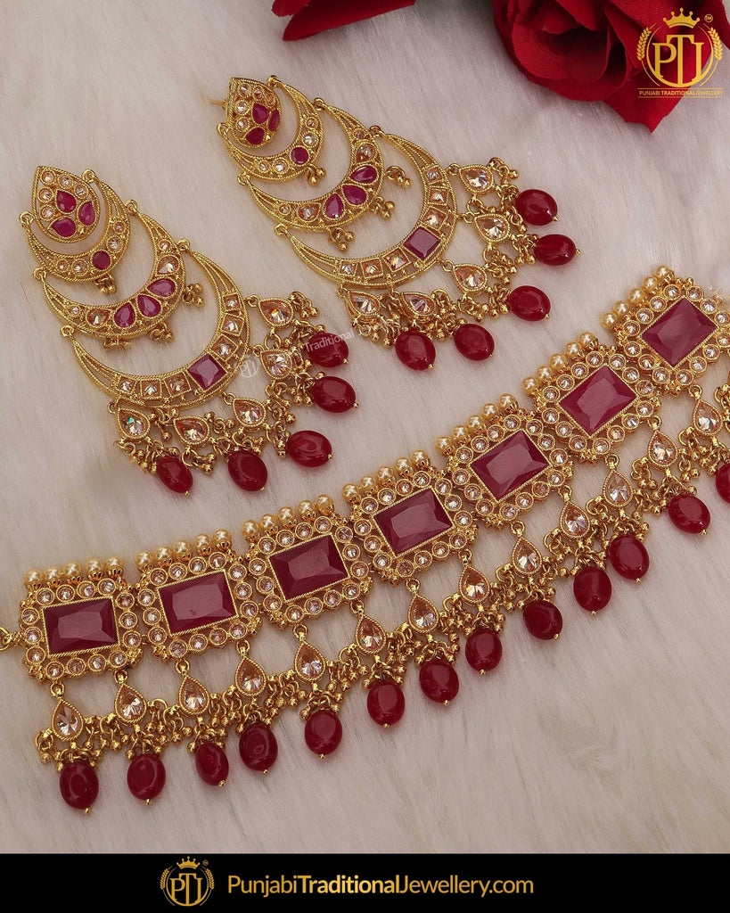 Gold Finished Champagne Stone Rubby Choker Necklace Set | Punjabi Traditional Jewellery Exclusive