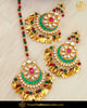 Gold Finished Rubby Emerald Pippal Patti Pearl Kundan Earring Tikka Set | Punjabi Traditional Jewellery Exclusive