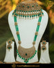 Gold Finished Green Chamapange Stone  Bridal Choker Necklace Set | Punjabi Traditional Jewellery Exclusive
