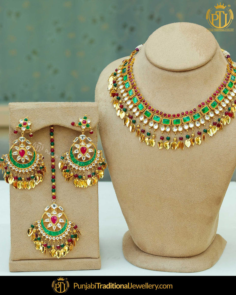Antique Gold Finished Rubby Emerald Pippal Patti Pearl Kundan Necklace Set | Punjabi Traditional Jewellery Exclusive