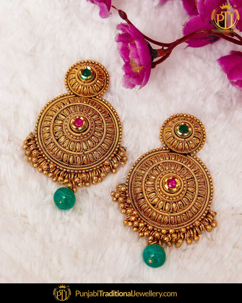 Antique Gold Finished Rubby Emerald Pearl Stud Earrings | Punjabi Traditional Jewellery Exclusive
