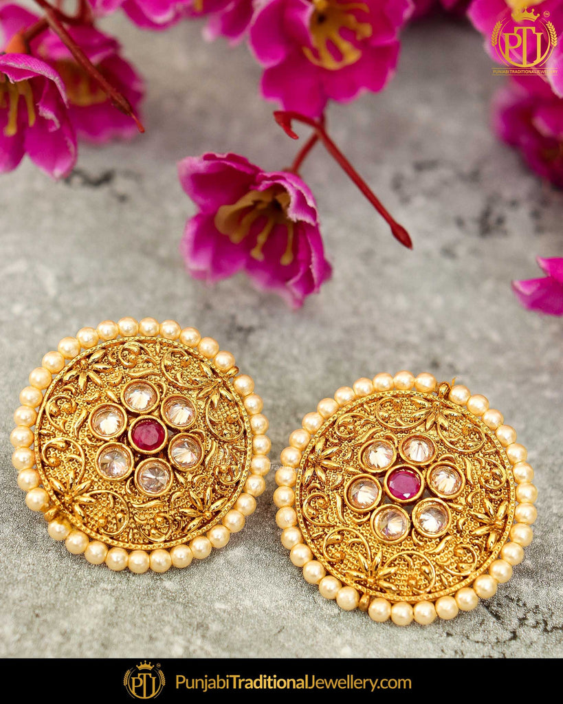 Antique Gold Finished Rubby Pearl Stud Earrings | Punjabi Traditional Jewellery Exclusive