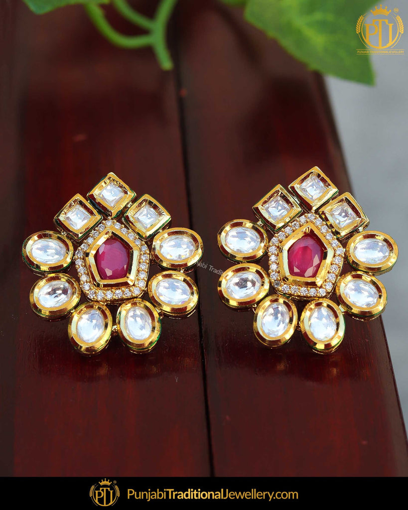 Gold Finished Kundan Stone Rubby Stud Earrings | Punjabi Traditional Jewellery Exclusive
