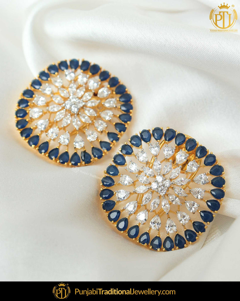 Gold Finished Blue American Diamond Stud Earrings | Punjabi Traditional Jewellery Exclusive