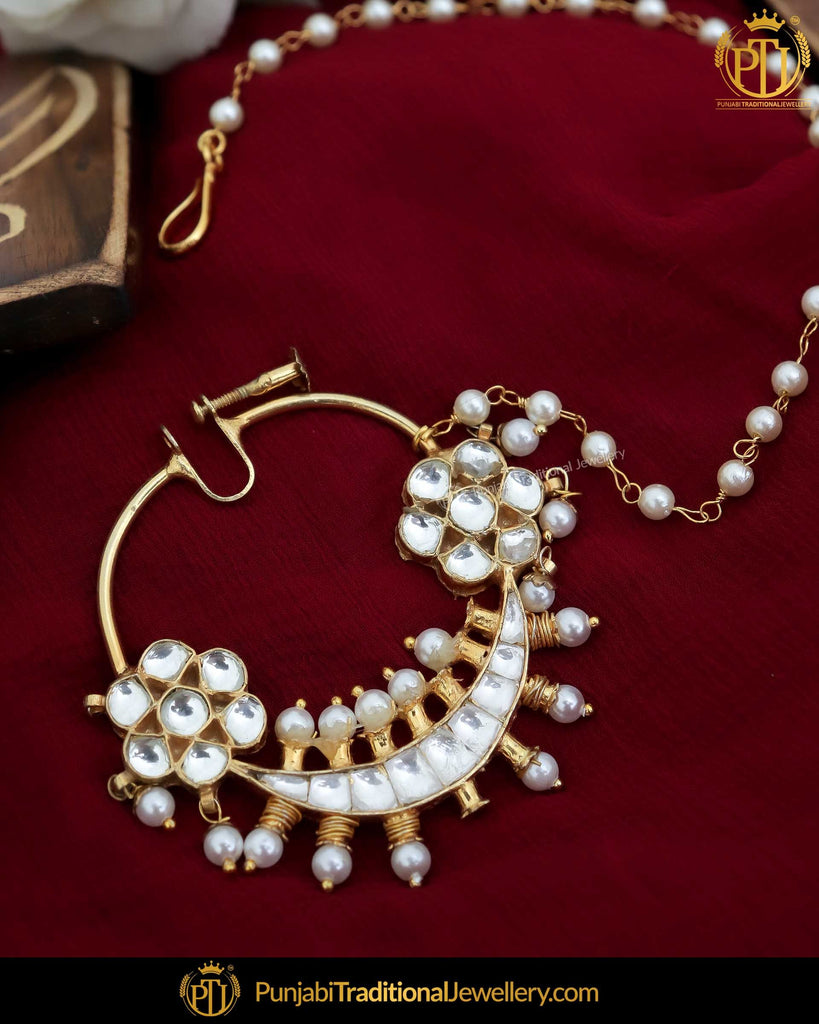 Gold Finished Pearl  Kundan Nath | Punjabi Traditional Jewellery Exclusive