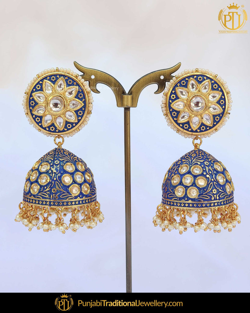 Hand Painted Meena Kundan Blue Jhumki Earrings | Punjabi Traditional Jewellery Exclusive