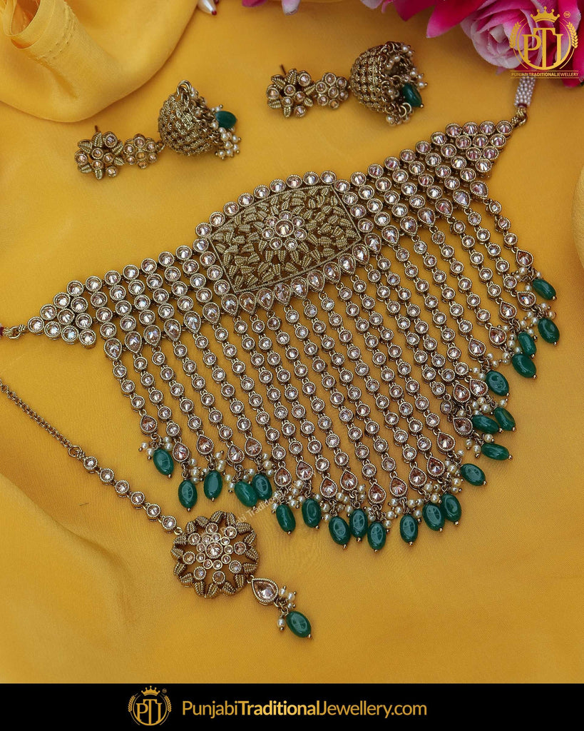Gold Finished Champagne Stone Emerald Pearl Choker Necklace Set | Punjabi Traditional Jewellery Exclusive