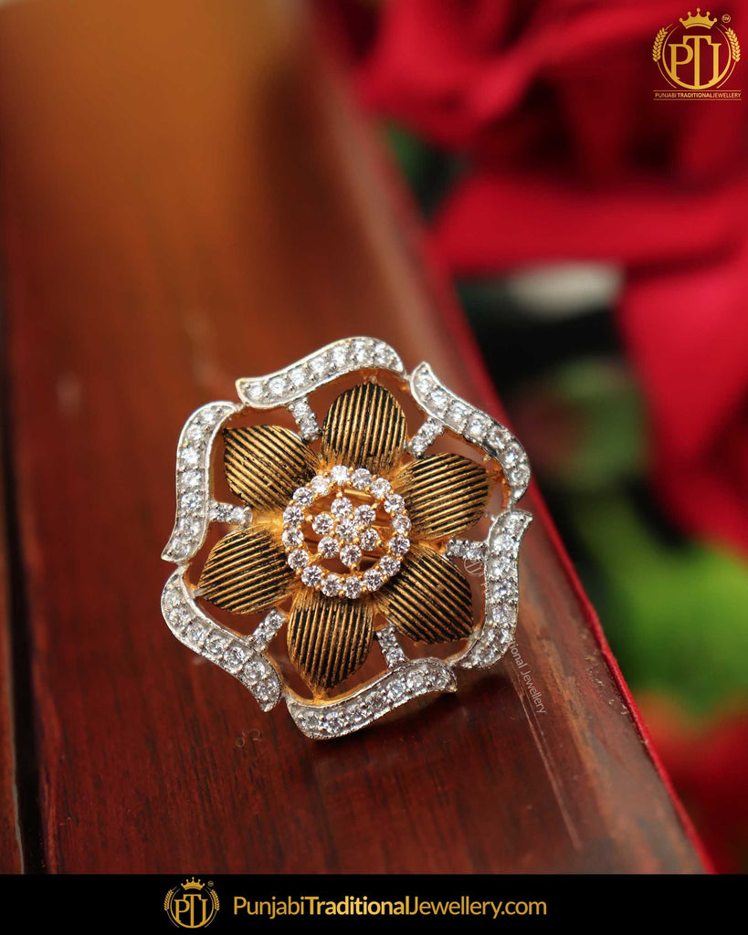 Gold Finished Matt Gold Kundan Ring | Punjabi Traditional Jewellery Exclusive