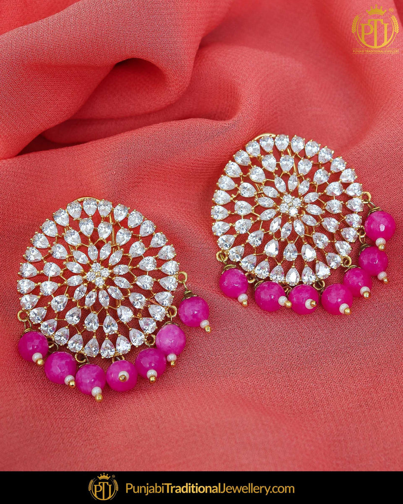 Gold Finished Pink Pearl American Diamond Stud Earrings | Punjabi Traditional Jewellery Exclusive
