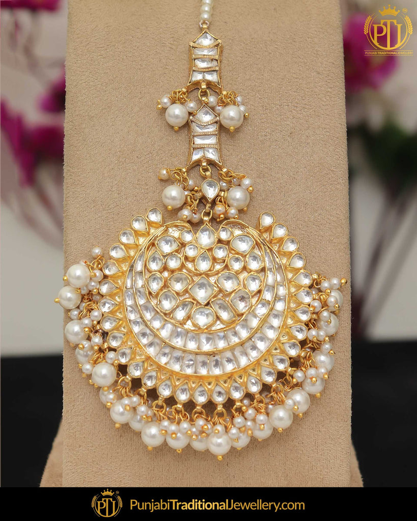 Gold Finished Kundan Pearl Tikka | Punjabi Traditional Jewellery Exclusive