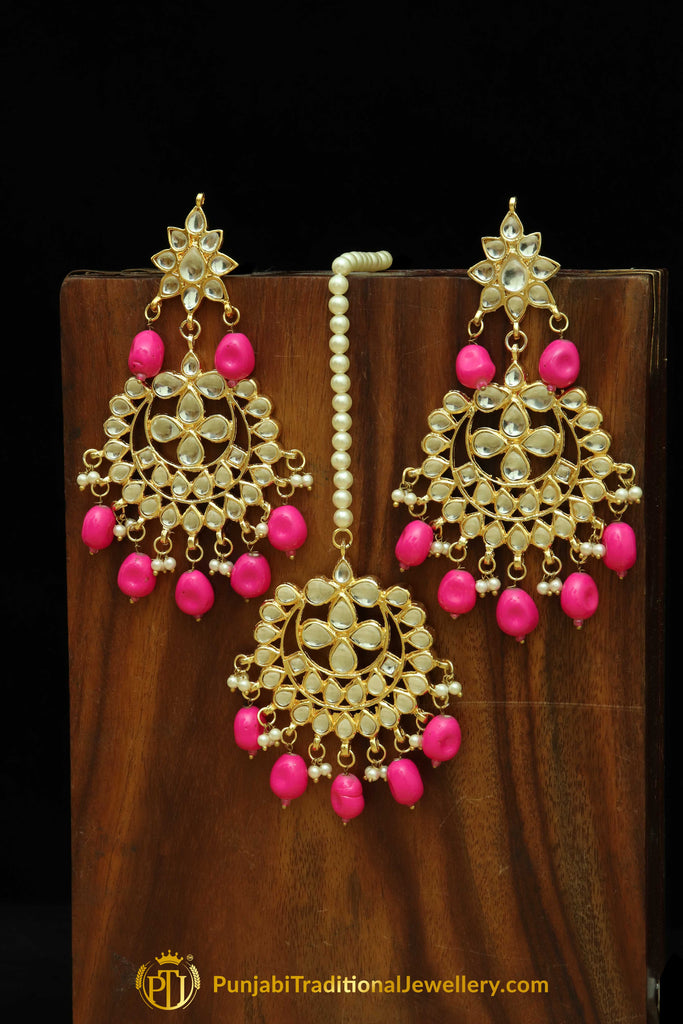 Pink Kundan Earring Tikka Set By Punjabi Traditional Jewellery