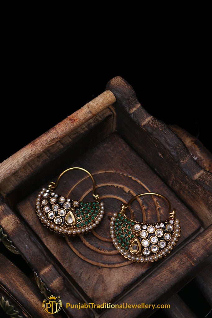 Green Polki Pearl Earrings By Punjabi Traditional Jewellery